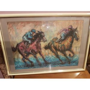 Ron Walker pastel on board under glass ,depicting racehorses .Dimensions overall framing .