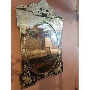 Venetian wall/hall/bathroom wall mirror .Cut bevilled etched painted ,lovely mirror in excellent condition .