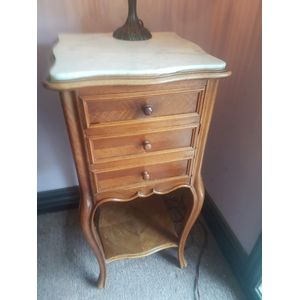 French walnut carrara marbletop cabinet ,Door drawer shelf below . In great condition . Bedside /hallway/that spot .