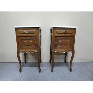 Pair of French oak bedside cab
