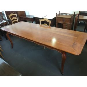 Good quality solid Cherry French Provincial Lxv style Dining Table with cross-banded top, wooden pins, shaped apron and...