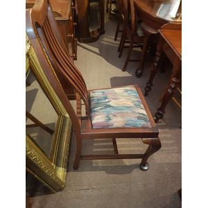 Set of 6 blackwood slatback chairs  .Pop out seats .Highback chairs with lumbago shaped backs .per chair 48