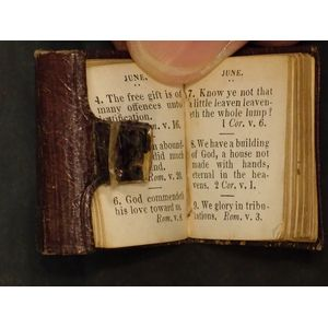 This miniature book is leather