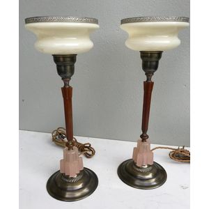Great pair of 1930's American brass/glass/catalin-bakelite column lamps with their original cream/banded glass shades. Fully...