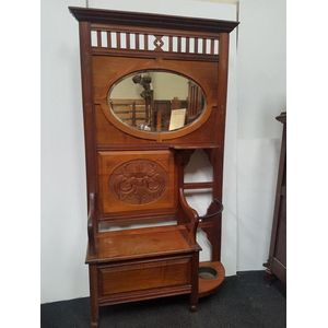 Rojo Blackwood timber, turn of the last century hall stand. Carved with dragon motifs, which symbolised good luck. Common for...