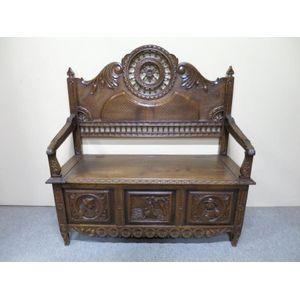 19th century oak carved settle