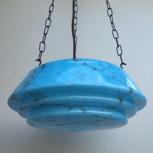 Large 1930's deco moulded blue