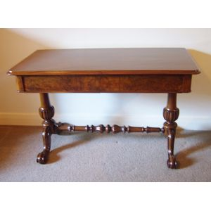 Victorian Burr and Figured Walnut Writing table or Hall side table with two drawers, with strecher base on four castors. 