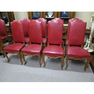 Set of 8 French oak high-back