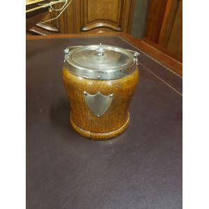 English oak biscuit barrel wit
