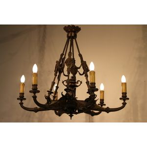 Antique French second Empire period solid bronze ormolu hanging chandelier with the lot. Six gorgeous cast bronze arms with...