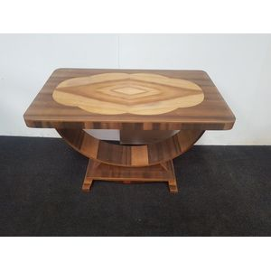 Art Deco walnut hoop table. Bu
