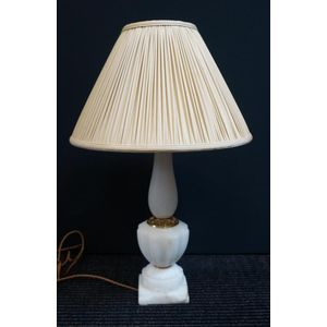Early 20th Century French Marble Lamp Rewired to Aust Standards With Silk Cord  Inc New Silk Shade