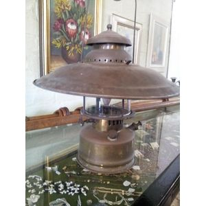Great old brass lamp with glas