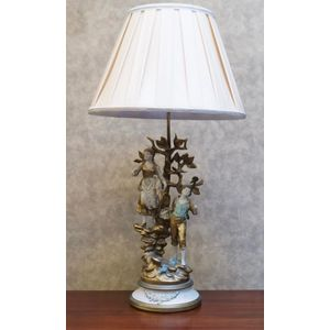 Americain Early 20th Centry Spelter Lamp .......Maker Jb Hirsch ....Rewired With Silk Shade