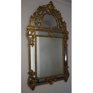 An 18th Century Regence Period, Giltwood Parcloses Mirror.  Circa 1720.