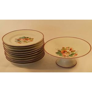 We have two footed comports and 24 individually hand painted floral plates made in France, probably in the Limoges region. They...