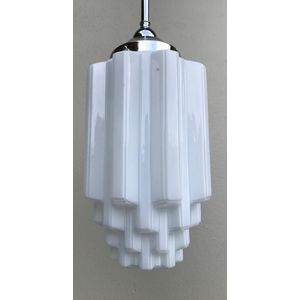 Classic 1930's American deco white glass skyscraper shade. Comes complete with chrome rod suspension fittings and is ready to...