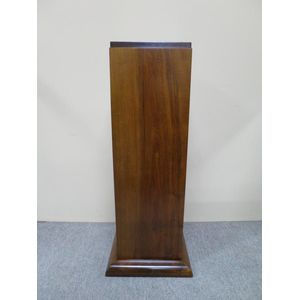 A period French Art Deco walnut pedestal with beautifully clean, modernist lines. Circa 1930. In restored condition. The base...