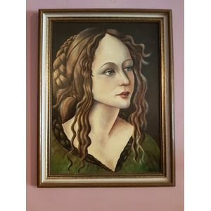 Accomplished work of woman portrait oil on board .Dimensions overall frame .
