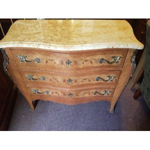 Fine french kingwood and walnut marquetry serpentine commode . Three drawers all locks and key ,ormulu mounts marble top in...