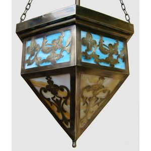 Beautiful large 1920's/1930's American brass hexagonal Arts&Crafts lantern with pierced floral decorative panels and its...