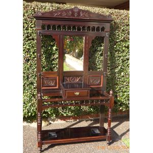 Antique Pine Hallstand C1890, with decorative Cedar trim, carved panels and spindle decoration.