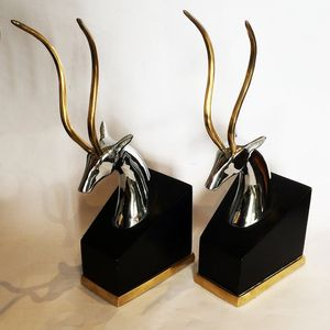Mid Century Antelope Book Ends