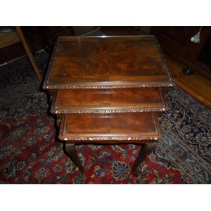 Mahogany Nest Of Tables With Glass Tops In Great Condition.