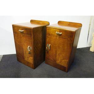 Pair of Burr Maple Art Deco be