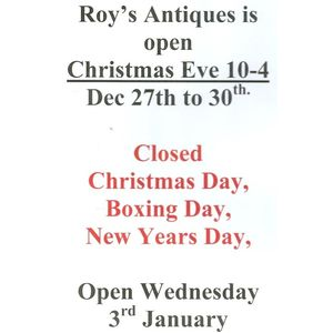 We will be open usual hours, plus 10-4 Christmas Eve, the Sunday.