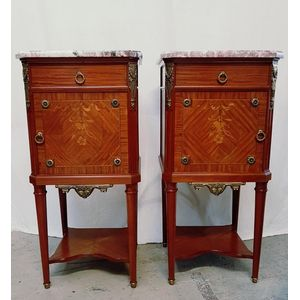 A pair of high quality antique French Louis XVI style mahogany marble tops bedsides, with beautiful marquetry inlaid and gilt...