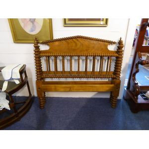 American cotton-bobbin Sycamore bed ends with wooden side rails - single bed size