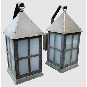 This is a fantastic pair of large 1920's/1930's Deco/Arts & Crafts hand crafted brass outdoor porch/wall lights. Workmanship is...