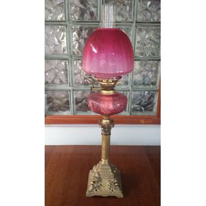 Vic brass column ruby glass ba