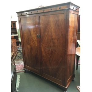 Australian Blackwood Wardrobe with all-round fiddleback panelling, studded pediment, fitted interior and cabriole feet....