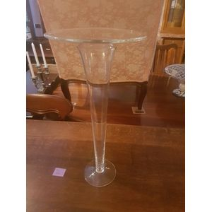 Tall impressive italian vintage glass vase made by Ivv in excellent condition .