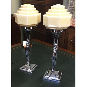 Pair Of Art Deco Diana Lamps ...........In Restored Condition ......$1350 The Pair