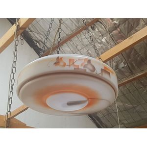 Art Deco figured round ceiling light with 3 chain attachment.