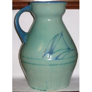 Rare William Moorcroft Art Deco jug in the minimalist yacht design.  Jug is in good condition with no chips, cracks or evidence...