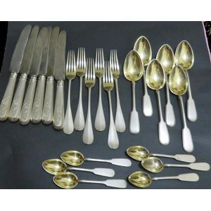 A Russian Silver, 24 pce cutlery set with maker's mark for I. P. Khlebnikov. Consisting of 6 each dinner knives, forks, soup...
