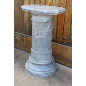 A massive solid French grey marble turned column pedestal. The marble is in three separately carved components consisting of :...
