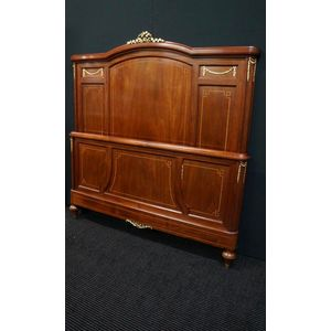 French Mahogany Inlayed Bed ......Suit Double Bed  W 149 Cm H 158 Cm  Comes With New Iron Side Rails and Slat Base If Needed...