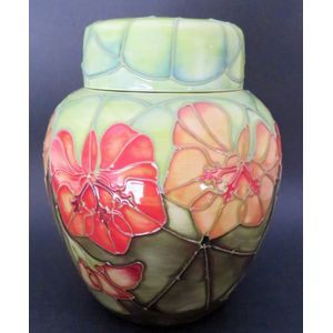 Moorcroft Nasturtium ginger jar designed by Sally Tuffin. Good condition.