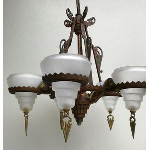 Impressive 1930's American deco cast 5 light chandelier with its original clear/frosted glass shades.....still with their...