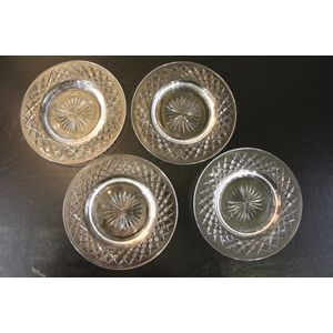 A set of four cut crystal serv