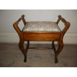 Edwardian walnut piano stool i