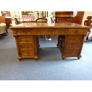 Walnut desk, original tooled leather top with pull-out extensions both sides (total length then being 250cms), twin pedestal,...