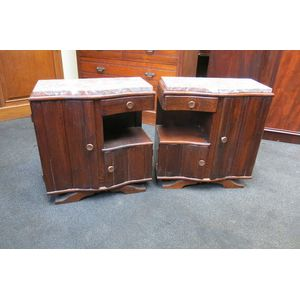 Pair of unusual oak Art Deco b