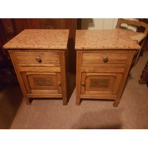 Pair of french oak marble top art-deco bedside cabinets . One drawer one door left and right in great condition . 385 each .